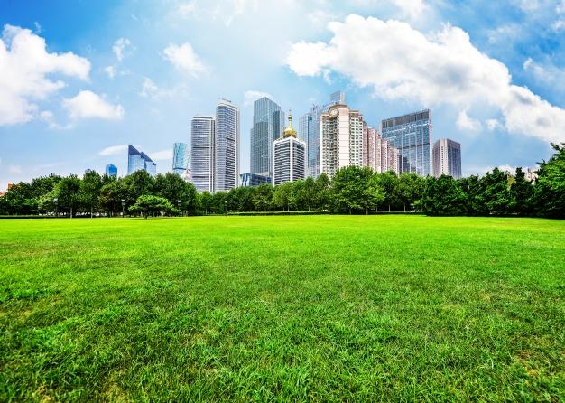 ville-durable-immeuble-parc-et-végétation
